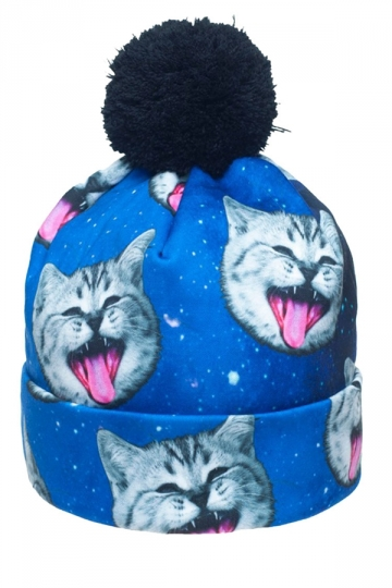 Womens Space Cat Printed Pom Beanie Blue