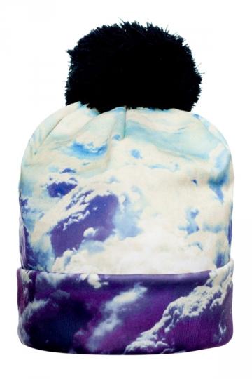 Womens Clouds Printed Pom Beanie Blue