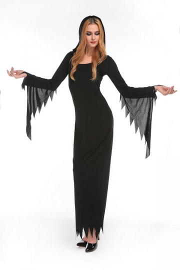 Womens Adult Long Bell Shaped Sleeve Halloween Witch Costume Black