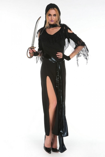 Womens Adult High Slit Sexy Halloween Witch Costume Black