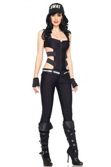Womens Cut Out Sleeveless SWAT Sniper Costume Black
