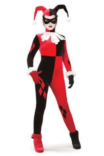 Adult Funny Long Sleeve Harley Quinn Halloween Costume Red
