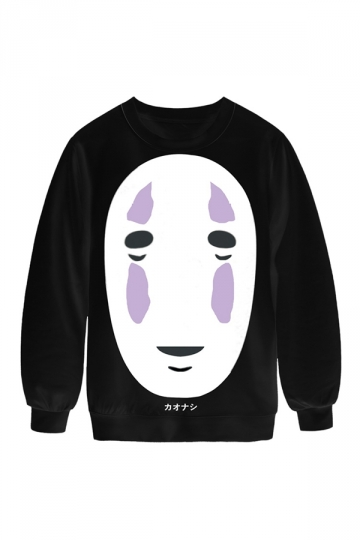 Womens Crew Neck Mask Printed Pretty Pullover Sweatshirt Black