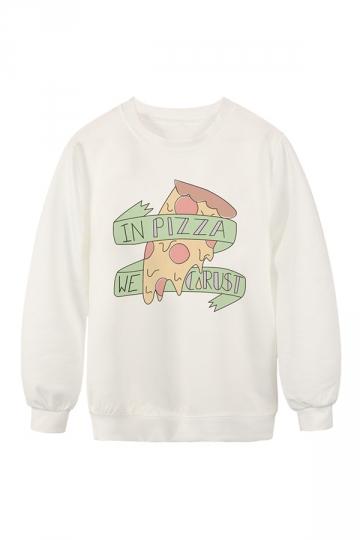 Womens Crew Neck Pizza Printed Pretty Pullover Sweatshirt White