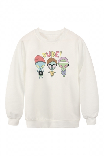 Womens Crew Neck Alien Printed Chic Pullover Sweatshirt White