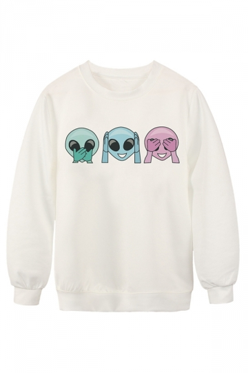 Womens Chic Alien Emoji Printed Crew Neck Pullover Sweatshirt White