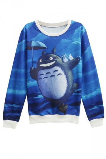 Womens Long Sleeve Totoro Printed Pullover Sweatshirt Blue