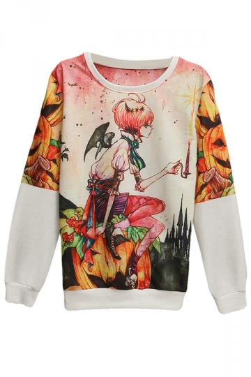 Womens Pullover Crew Neck Pumpkin Girl Printed Sweatshirt Pink