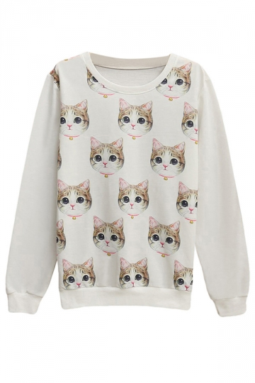 Womens Pullover Crew Neck Cute Cat Printed Sweatshirt White
