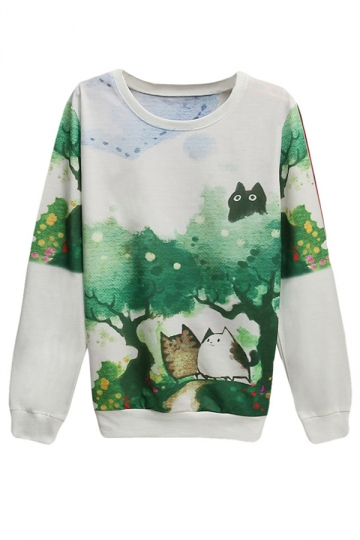 Womens Cute Cats Printed Pullover Long Sleeve Sweatshirt Green