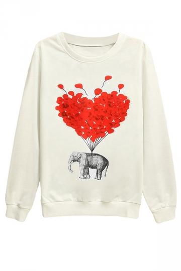 Womens Elephant Balloon Printed Pullover Long Sleeve Sweatshirt White