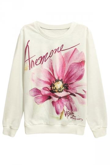 Womens Anemone Printed Pullover Long Sleeve Sweatshirt White