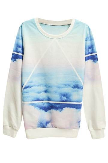 Womens Sky Printed Pullover Long Sleeve Sweatshirt Blue