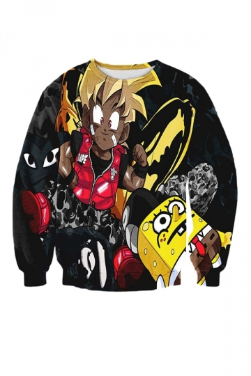 Womens Full-print Crewneck Anime Sweatshirt Black