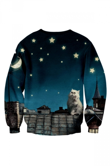 Womens Chase Your Dreams Cat Galaxy Printed Pullover Sweatshirt Blue