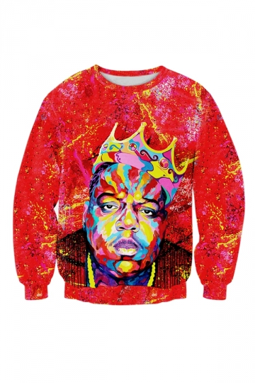 Womens Casual Tupac Biggie Face 3D Printing Sweatshirt Red