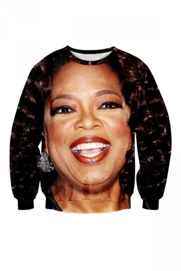 Womens Crewneck Oprah Winfrey Printed Sweatshirt Brown