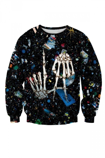 Womens Skull 3D Halloween Printed Sweatshirt Black