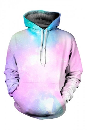Womens Galaxy 3D Printed Pullover Hoodie Pink