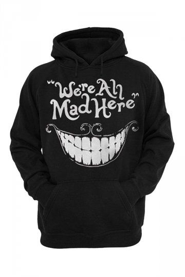 Womens We're All Mad Here Printed Pullover Hoodie Black