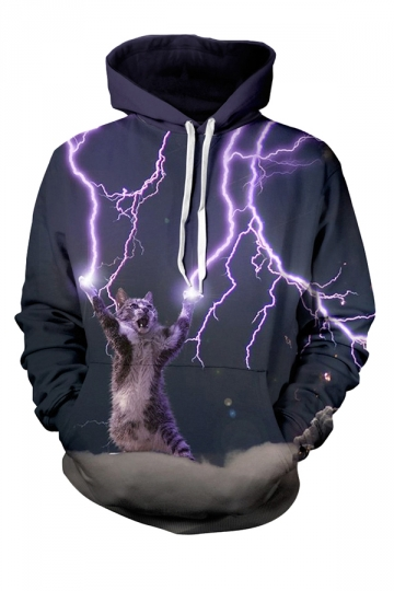 Womens Lightning Cat 3D Printed Pullover Hoodie Black