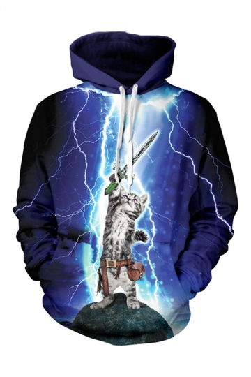 Womens Cat Hero 3D Printed Pullover Hoodie Blue
