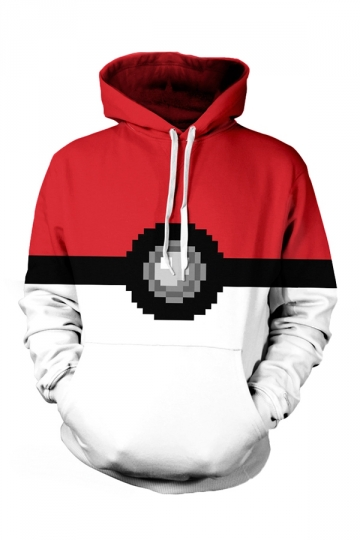 Womens Pokemon 3D Printed Pullover Hoodie Red