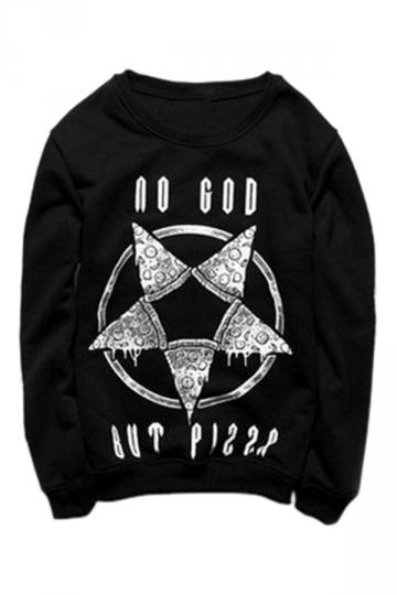 Womens Casual Crewneck Pizza Printed Long Sleeve Sweatshirt Black