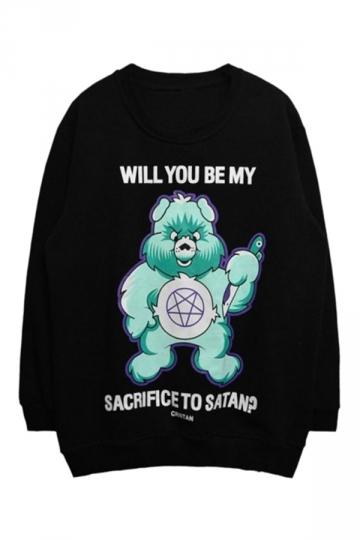 Womens Casual Crewneck Monster Printed Long Sleeve Sweatshirt Black