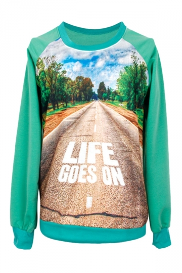 Womens Crewneck Forest Road Printed Pullover Sweatshirt Green