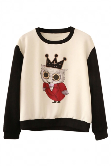 Womens Crewneck Owl Printed Color Block Sweatshirt White