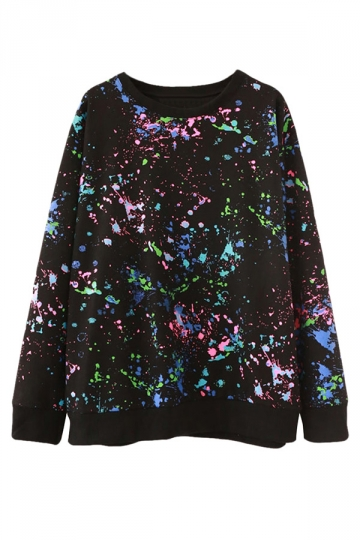 Womens Unique Crewneck Fireworks Printed Pullover Sweatshirt Black