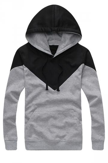 Womens Simple Casual Color Block Hoodie Sweatshirt Gray