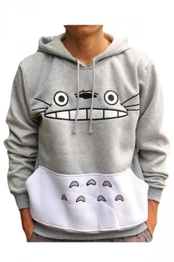 Womens Totoro Cartoon Printed Hoodie Sweatshirt Gray