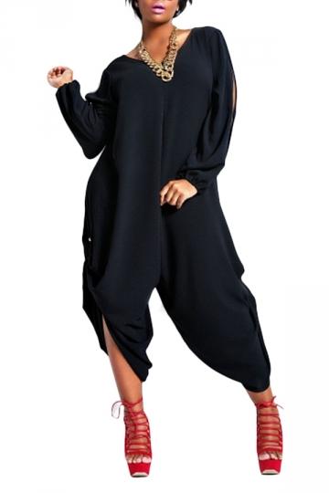 Womens Loose V Neck Split Sleeve Jumpsuit Black Pink Queen