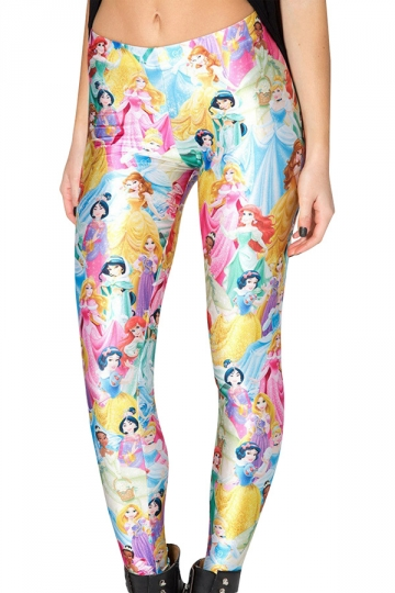 Womens Elastic Disney Princess 3D Printed Leggings White
