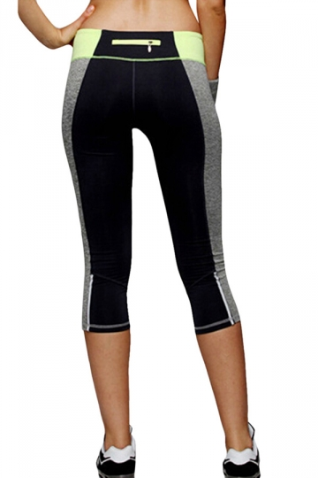 Womens Seamless Splicing Elastic Sports Leggings Yellow