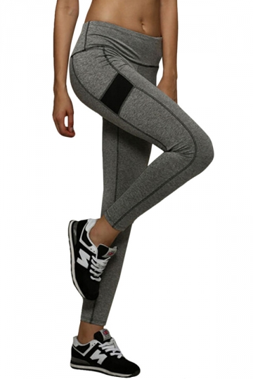 Womens Elastic Seamless Splicing Sports Leggings Gray