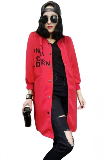 Womens Loose Casual Letter Printed Pockets Trench Coat Red