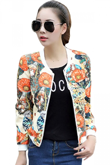 Womens Casual Long Sleeve Floral Bomber Jacket Orange
