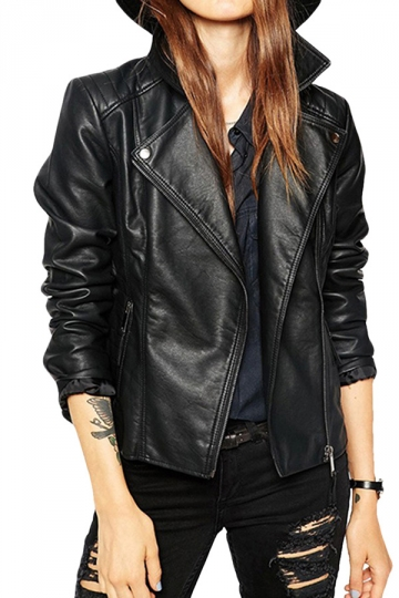 Womens Punk Turndown Collar Zipper PU Leather Motorcycle Jacket Black