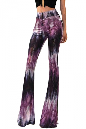 Womens Exotic Printed Flared Palazzo Leisure Pants Purple - PINK QUEEN