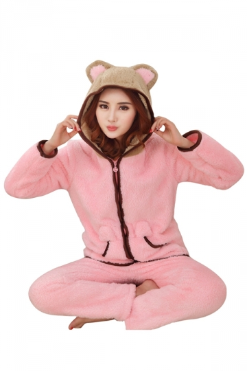 Womens Cute Warm Flannel Hooded Bear Pajamas Pink