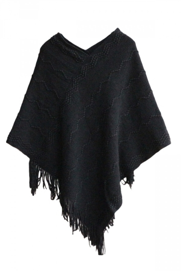 Ladies Tassel Batwing Cape Pullover Sweater Black