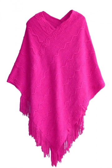 Ladies Tassel Batwing Cape Pullover Sweater Rose Red