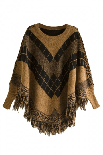 Ladies Fringe Batwing Sleeve Argyle Pullover Sweater Coffee