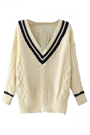 Womens Preppy Chic V Neck Pullover Knitted Sweater White