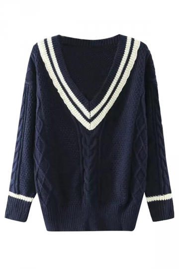 Womens Preppy Chic V Neck Pullover Knitted Sweater Navy Blue
