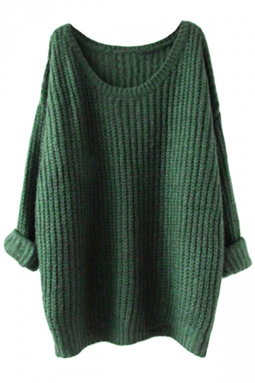 Womens Loose Crew Neck Long Sleeve Pullover Sweater Green
