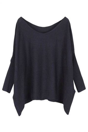 Womens Plain Loose Slash Neck Batwing Sleeve Sweater Black